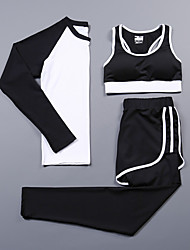 cheap -Women's Activewear Set Workout Outfits Athletic Long Sleeve Spandex Cycling Quick Dry Camping & Hiking Yoga Fitness Gym Workout Pilates Exercise & Fitness Sportswear Compression Clothing White Black