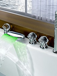 cheap -Bathtub Faucet - Contemporary LED Chrome Widespread Brass Valve
