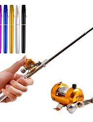 cheap -Portable Pocket Telescopic Mini Fishing Rod Pen Rod & Reel Combos Aluminum Alloy Fishing Rod 1M