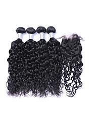cheap -4 Bundles With Closure Brazilian Hair Natural Wave Human Hair Natural Color Hair Weaves / Hair Bulk Human Hair Weaves Human Hair Extensions / Long / 8A