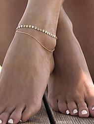 abordables -Femme Bracelet de cheville Géométrique Forme de Feuille dames simple Mode Bracelet de cheville Bijoux Dorée Pour Décontracté Sport de détente