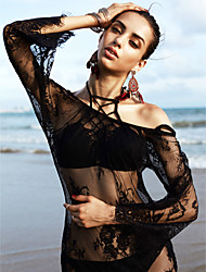 cheap -Women's Lace Mesh White Black Dress Cover-Up Swimwear - Solid Colored Lace, Lace L XL XXL White / Beach / Super Sexy