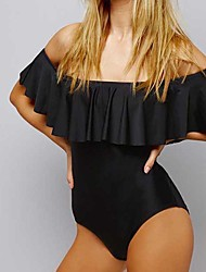 cheap -Women's Off Shoulder Black Red Bandeau Briefs One-piece Swimwear Swimsuit - Solid Colored Ruffle S M L Black / Sexy
