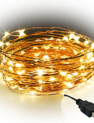 cheap -10m String Lights 100 LEDs SMD 0603 1pc Warm White White Red Decorative USB Powered IP65