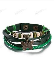 Недорогие -Муж. Жен. Кожаные браслеты Бант Дамы Винтаж Кожа Браслет Ювелирные изделия Зеленый В форме банта Назначение На каждый день