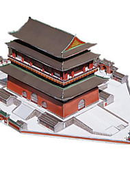 cheap -3D Puzzle Paper Model Famous buildings Chinese Architecture Drum Set DIY Hard Card Paper Chinese Style Kid's Unisex Toy Gift