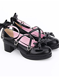 cheap -Women's Lolita Shoes Sandals Lolita Handmade Chunky Heel Bowknot Lolita 4.5 cm Black PU Leather PU Leather / Polyurethane Leather Halloween Costumes / Princess