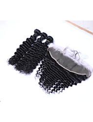 cheap -3 Bundles with Closure Brazilian Hair Deep Wave Human Hair Natural Color Hair Weaves / Hair Bulk Human Hair Weaves Human Hair Extensions