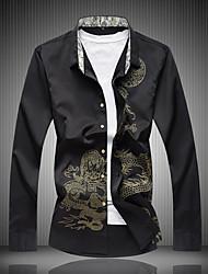 cheap -Men's Daily Chinoiserie Cotton Shirt - Animal Dragon, Print Black / Long Sleeve