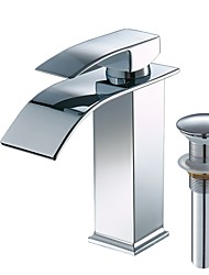 cheap -Bathroom Sink Faucet - Waterfall Chrome Centerset Single Handle One HoleBath Taps / Stainless Steel