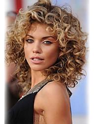 cheap -Human Hair Wig Medium Length Curly Wavy Layered Haircut Short Hairstyles 2020 Berry Wavy Machine Made Women's Chestnut Brown / Bleach Blonde