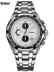 cheap -SINOBI Men's Wrist Watch Japanese Quartz Metal Silver 30 m Calendar / date / day Chronograph Shock Resistant Analog Luxury Casual Fashion - Blue / White Brown black Black / White / Noctilucent