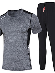 cheap -Men's Tracksuit Activewear Set Running T-Shirt With Pants Athletic Athleisure Wear Clothing Suit Sport Running Exercise & Fitness Basketball Quick Dry Moisture Wicking Black+Gray