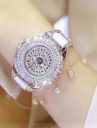cheap -Women's Ladies Luxury Watches Bracelet Watch Wrist Watch Quartz Stainless Steel Ceramic White / Gold 30 m Water Resistant / Waterproof Creative Imitation Diamond Analog Charm Luxury Sparkle Dot Casual