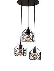 cheap -3-Light 3-Head Vintage Black Metal Cage Shade Pendant Lights Living Room Dining Room Light Fixture