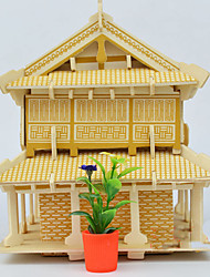 cheap -3D Puzzle Jigsaw Puzzle Model Building Kit Famous buildings Chinese Architecture DIY Wooden Chinese Style Unisex Toy Gift
