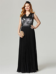 cheap -Sheath / Column Color Block Elegant Holiday Cocktail Party Prom Dress V Neck Sleeveless Floor Length Chiffon Lace with Sash / Ribbon Pleats Appliques 2020 / Formal Evening