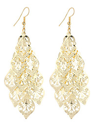 cheap -Women's Drop Earrings Hollow Out filigree Leaf Ladies Dangling Vintage Bohemian Simple Style Fashion Silver Plated Gold Plated Earrings Jewelry Gold / Silver For Christmas Gifts Wedding Party Special