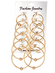 cheap -Women's Hoop Earrings Ladies Circular Earrings Jewelry Gold / Silver For Wedding Party Daily Casual
