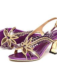 cheap -Women's Sandals Stiletto Heel Peep Toe Rhinestone / Buckle Leather Comfort / Novelty Walking Shoes Summer / Fall Gold / Purple