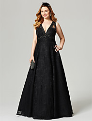 cheap -A-Line V Neck Floor Length All Over Lace Open Back Cocktail Party / Prom / Formal Evening Dress 2020 with Beading / Crystals