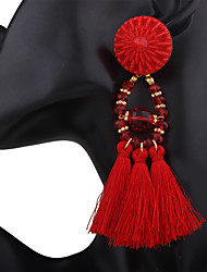 cheap -Women's Drop Earrings Tassel Long Ladies Tassel African Earrings Jewelry Red / Green / Robin's Egg Blue For Wedding Anniversary Party Evening Office / Career Event / Party Dailywear