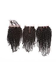 Недорогие -Бразильские волосы 4x4 Закрытие Кудрявый / Классика / Kinky Curly Бесплатный Часть / Средняя часть / 3 Часть Швейцарское кружево Натуральные волосы Повседневные
