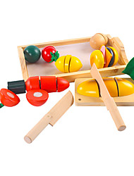 Недорогие -Игрушка кухонные наборы Игрушечная еда Ролевые игры Овощи Фрукт Овощи и фрукты деревянный Детские Игрушки Подарок