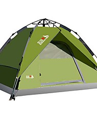 cheap -BSwolf 4 person Automatic Tent Outdoor Waterproof Rain Waterproof Dust Proof Double Layered Camping Tent 2000-3000 mm for Camping / Hiking Terylene Fibre Glass