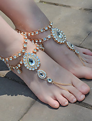 cheap -Barefoot Sandals Fashion Yoga Women's Body Jewelry For Dailywear Daily Rhinestone Alloy Drop Gold Silver
