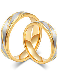 cheap -Couple's Couple Rings Gold Rose Gold Titanium Steel Round Elegant Simple Style Wedding Anniversary Jewelry / Daily / Engagement / Valentine