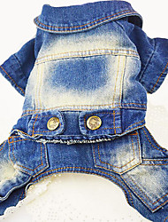 cheap -Dog Denim Jacket / Jeans Jacket Dog Clothes Jeans Dark Blue Blue Denim Costume For Spring &  Fall Men's Women's Cowboy Casual / Daily