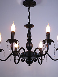 cheap -6-Light 62 cm Crystal / Candle Style Chandelier Metal Black Chic & Modern 110-120V / 220-240V