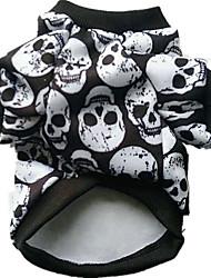 cheap -Dog Costume Winter Dog Clothes Black Rainbow White Halloween Costume Cotton Skull Cosplay XXS XS S M L XL