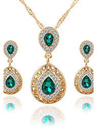 cheap -Women's Crystal Jewelry Set Pendant Necklace / Earrings Pear Cut Solitaire Two Stone Drop Ladies Luxury Dangling Fashion Euramerican Elegant Crystal Rhinestone Earrings Jewelry Green / Red / Blue For