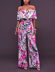 cheap -Women's Off Shoulder Wide Leg Floral Daily / Going out / Work Boat Neck Rainbow Wide Leg Jumpsuit Onesie, Floral Ruffle / Floral / Print S M L High Rise Cotton Short Sleeve Summer Fall