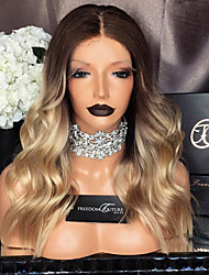 cheap -Remy Human Hair Glueless Lace Front Lace Front Wig Beyonce style Brazilian Hair Body Wave Ombre Wig 130% Density with Baby Hair Ombre Hair Natural Hairline African American Wig 100% Hand Tied Women's