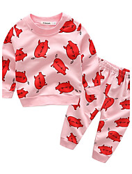 cheap -Baby Girls' Cartoon Cotton / Holiday / Going out Animal / Cartoon Long Sleeve Regular Regular Clothing Set Blushing Pink / Casual / Daily