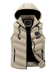 cheap -Men's Daily Active Striped / Solid Colored Regular Vest, Polyester Sleeveless Black / Wine / Blue M / L / XL