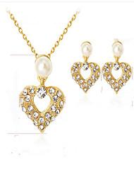 Недорогие -Жен. Синтетический алмаз Свадебные комплекты ювелирных изделий Сердце Мода Euramerican Позолота Серьги Бижутерия Золотой Назначение Для вечеринок Для праздника / вечеринки На каждый день