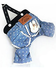cheap -Dog Dress Dog Clothes Blue Costume Cotton Cartoon Party Casual / Daily S M L