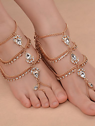 cheap -Barefoot Sandals feet jewelry Ladies Fashion Women's Body Jewelry For Daily Outdoor clothing Iron(nickel plated) Rhinestone Alloy Drop Gold Silver 1pc
