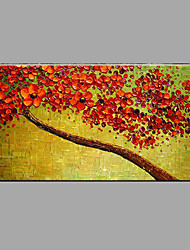 cheap -Hand-Painted Floral/Botanical Horizontal Panoramic,Modern/Contemporary One Panel Canvas Oil Painting For Home Decoration