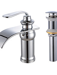 cheap -Faucet Set - Waterfall Chrome Centerset One HoleBath Taps