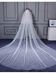 cheap -Two-tier Cut Edge Wedding Veil Cathedral Veils with Ruffles Tulle / Classic