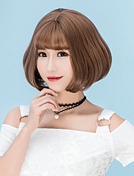 cheap -Synthetic Wig Straight Straight Bob With Bangs Wig Short Flaxen Chestnut Brown Ash Brown Brown Grey Synthetic Hair Women's Brown Gray