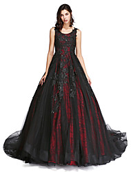 cheap -Ball Gown Vintage Inspired Formal Evening Dress Scoop Neck Sleeveless Cathedral Train Lace Tulle with Lace Pearls Beading 2021