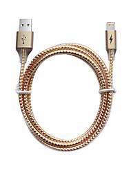 Недорогие -USB 2.0 / Подсветка Кабель 1m-1.99m / 3ft-6ft Нормальная / Плетение Алюминий / ПВХ Адаптер USB-кабеля Назначение iPad / iPhone