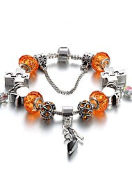 cheap -Women's Crystal Charm Bracelet Bead Bracelet Friends Heart Flower Luxury Natural Fashion Crystal Bracelet Jewelry Orange For Christmas Gifts Wedding Party Party Evening Party / Evening Engagement