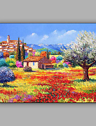 cheap -Hand-Painted Landscape Horizontal, Mediterranean Canvas Oil Painting Home Decoration One Panel Rolled Without Frame
